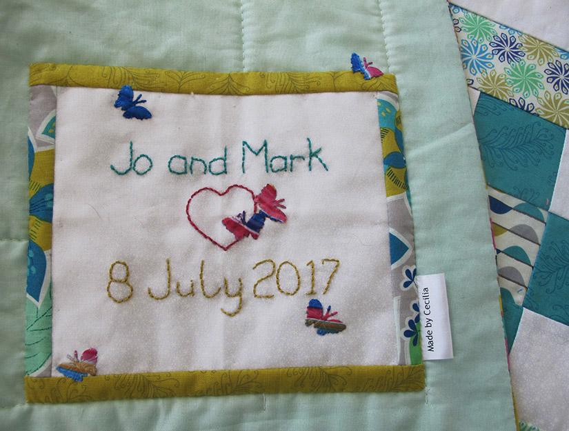 Handmade wedding quilt